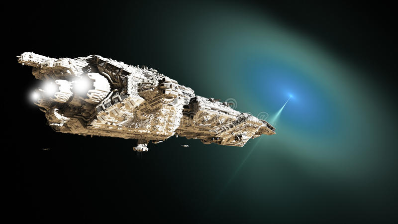 Sci-fi Battle Cruiser Approaching a Wormhole. Giant science fiction battle cruiser and small scout ships approaching an outer space wormhole for lightspeed royalty free illustration