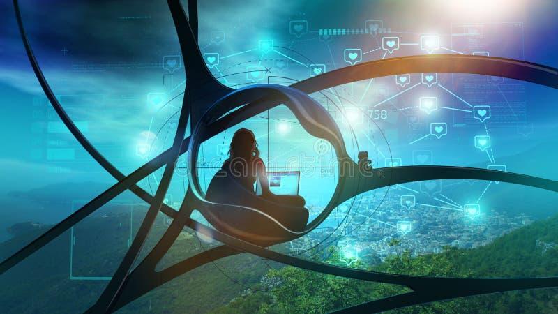 Sci-Fi blogger που περιβάλλεται από τη φύση, κοινωνικό infographics διανυσματική απεικόνιση