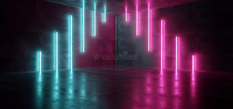 Sci Fi Blue Pink Purple Neon Futuristic Cyberpunk Glowing Retro Modern Vibrant Lights Laser Show Empty Stage Room Hall Reflective. Concrete Grunge Club stock illustration