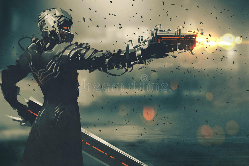 Sci-fi character in futuristic suit aiming weapon vector illustration
