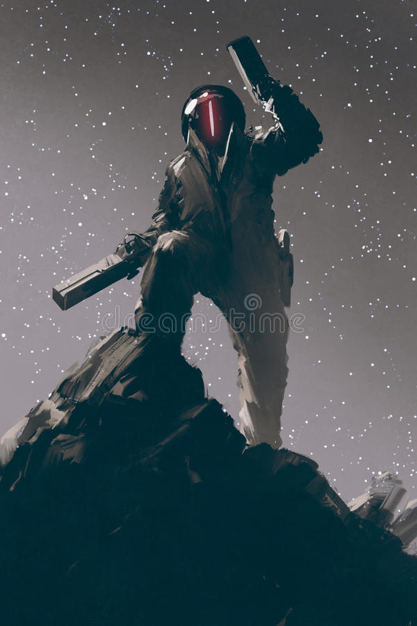 Sci-fi character in futuristic suit holding two guns vector illustration