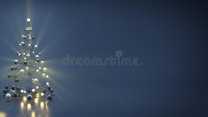 Sci-fi christmas tree and free space 3D render royalty free illustration