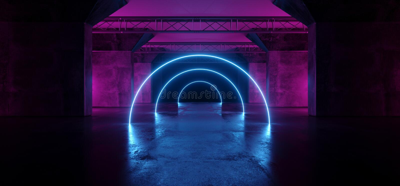 Sci Fi Circle Neon Glowing Fluorescent Laser Alienship Stage Dance Lights Ultraviolet Purple Blue Pink In Dark Empty Grunge. Concrete Neon Reflective Tunnel stock illustration