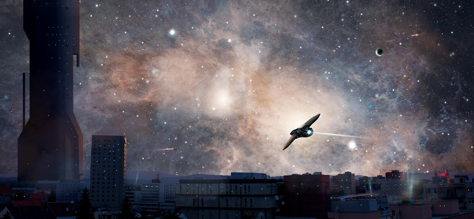 Sci-fi city with planet, nebula and spaceships, Elements furnish. Ed by NASA. 3D rendering. Illustration vector illustration