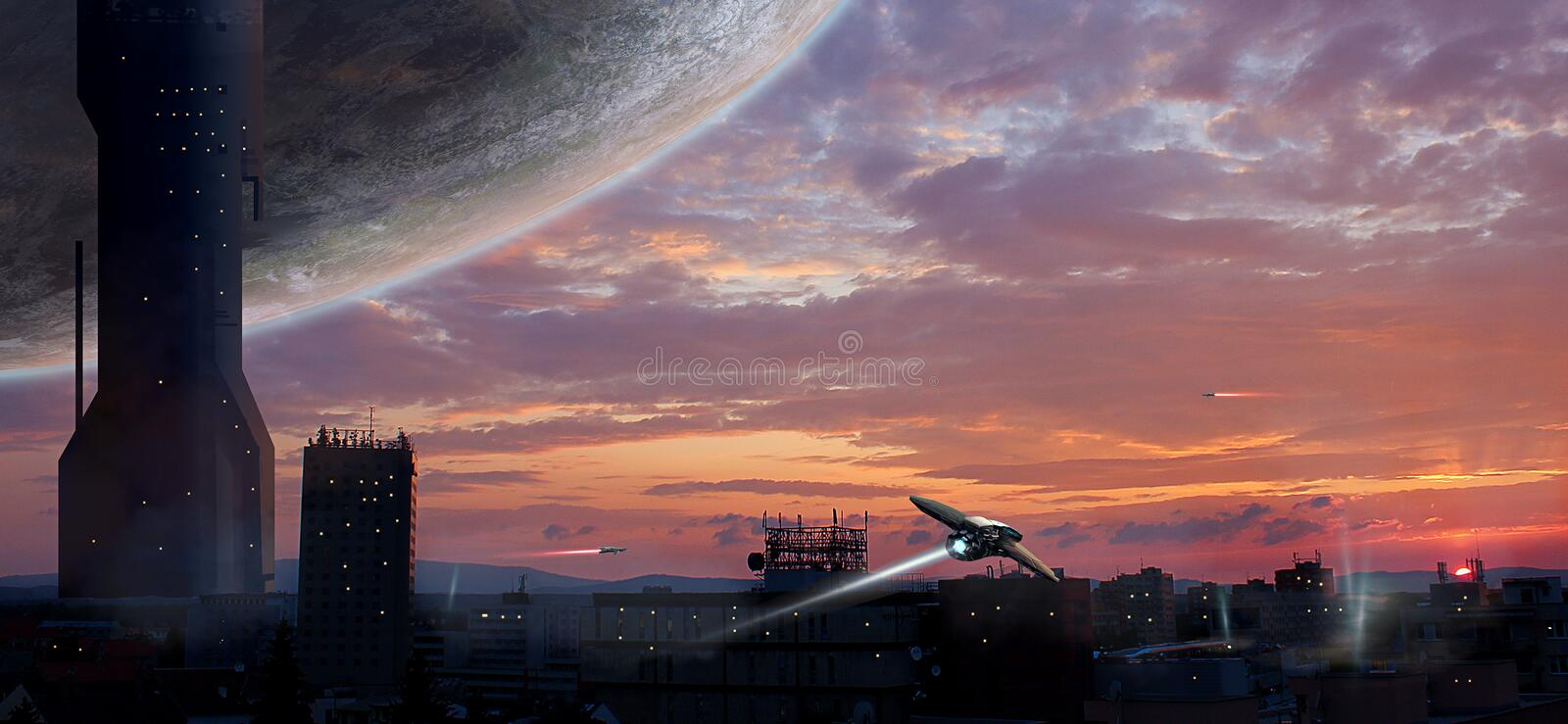 Sci-fi city with planet and spaceships, photo manipulation, Elem. Ents furnished by NASA. 3D rendering. Illustration royalty free illustration