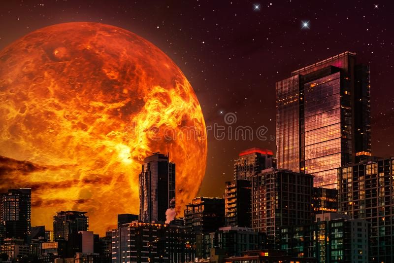 Sci-fi cityscape illustration. Skyline at night with giant planet or sun in the background and a starry sky. Composite image with vector illustration