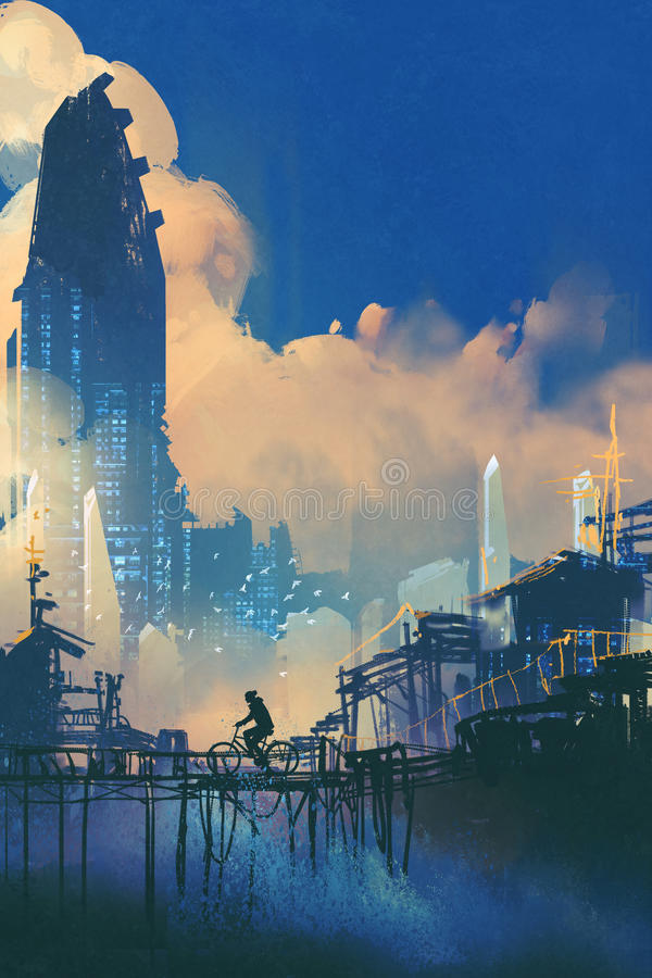 Sci-fi cityscape with slum and futuristic skyscraper. Illustration painting vector illustration