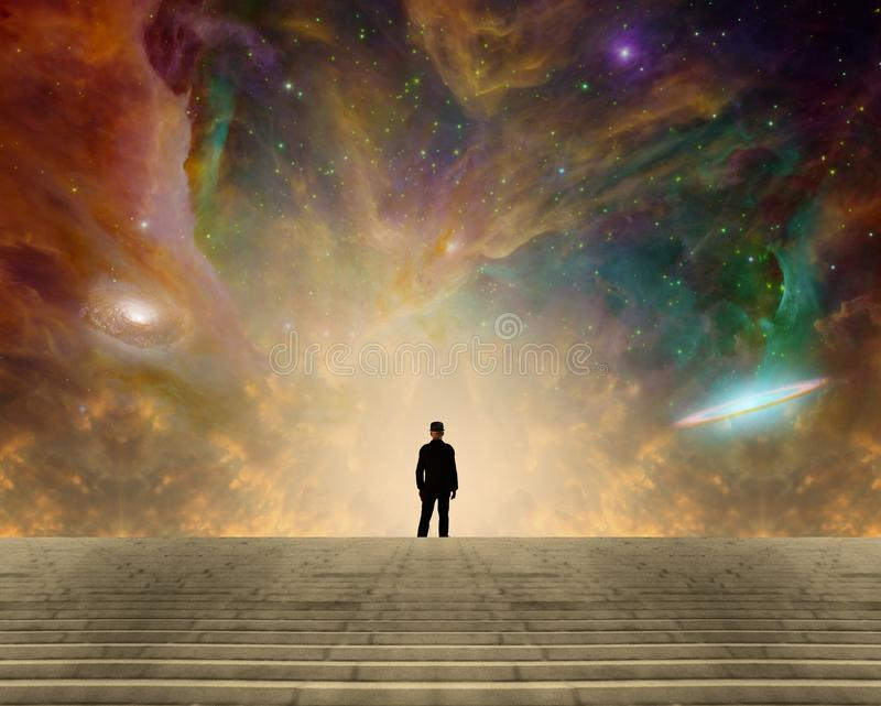 Stargazer. Sci-fi composition. Stargazer. Man in classic suit and bowler hat stands before vivid space with colorful nebulae and galaxies. Human elements were vector illustration