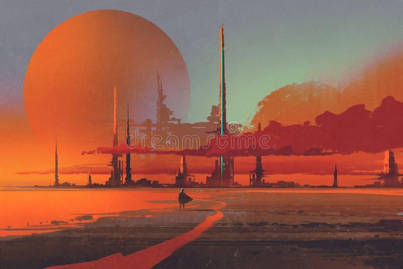 Sci-fi contruction in the desert. Illustration digital painting stock illustration