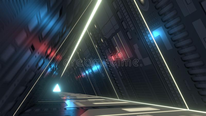 Sci fi corridor with infra-red and ultraviolet lights. 3D rendering. A 3D rendering of a futuristic corridor in triangle shape. You are into a sci-fi tunnel with stock illustration