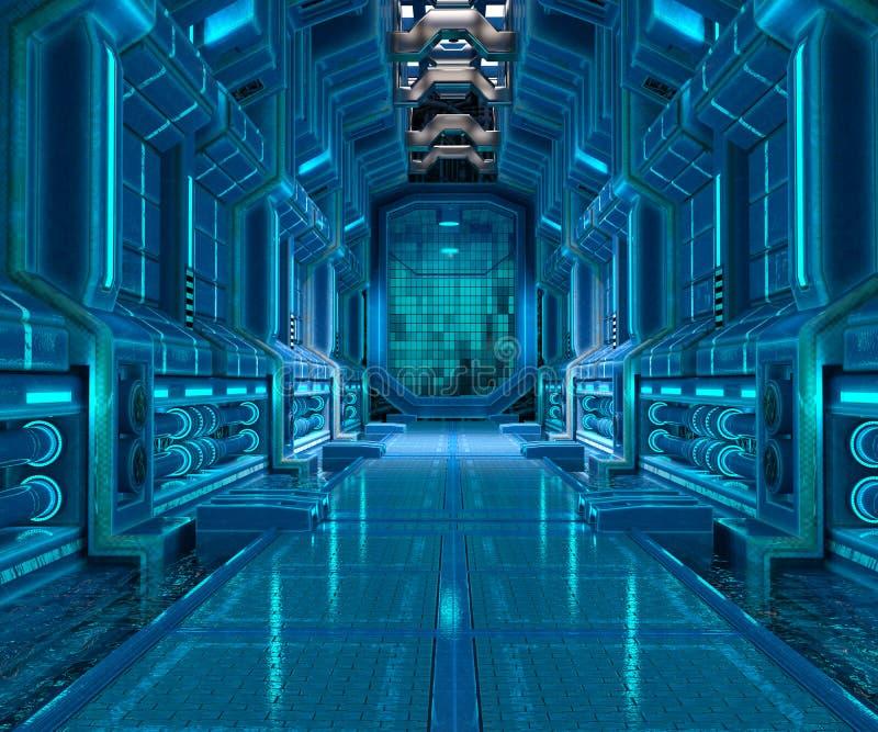 Sci-Fi corridor interior design. 3d illustration of sci-fi corridor interior stock illustration