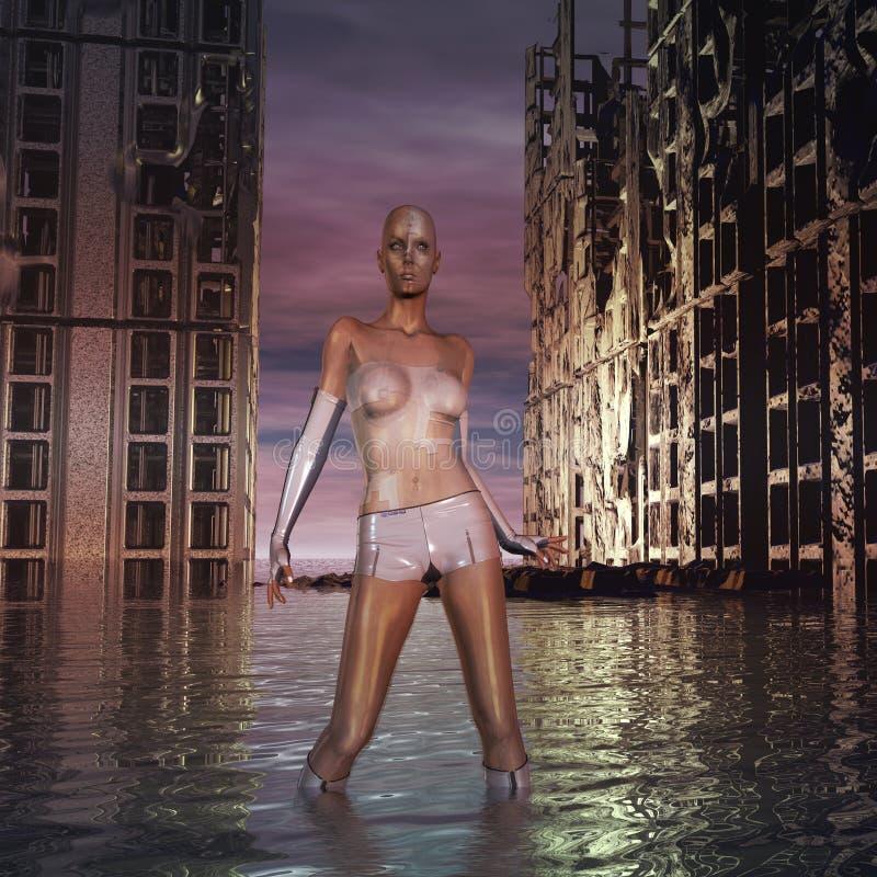 Sci Fi Cyborg Woman Stock Image
