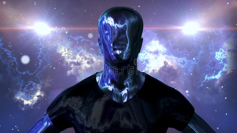 Metallic man is standing in the open space stock illustration