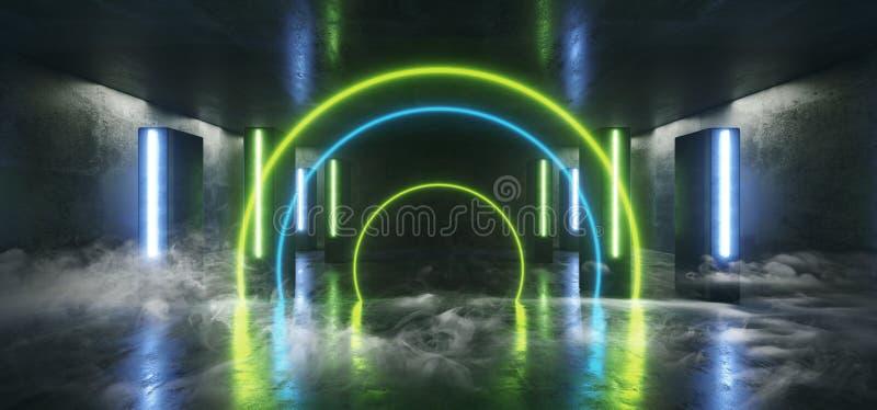 Sci Fi för ljus för neon för röketappklubban formade den futuristiska blåa gröna kolonnen den glödande vibrerande tomma tunnelen  stock illustrationer