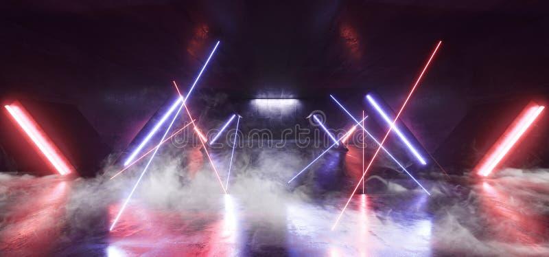 Sci Fi för ljus för neon för röketappklubban formade den futuristiska röda blåa kolonnen den glödande vibrerande tomma korridoren royaltyfri illustrationer