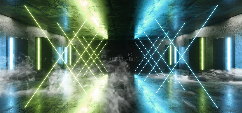 Sci Fi för ljus för neon för röketappklubban för futuristisk formade den blåa kolonnen gräsplan den glödande vibrerande tomma tun vektor illustrationer