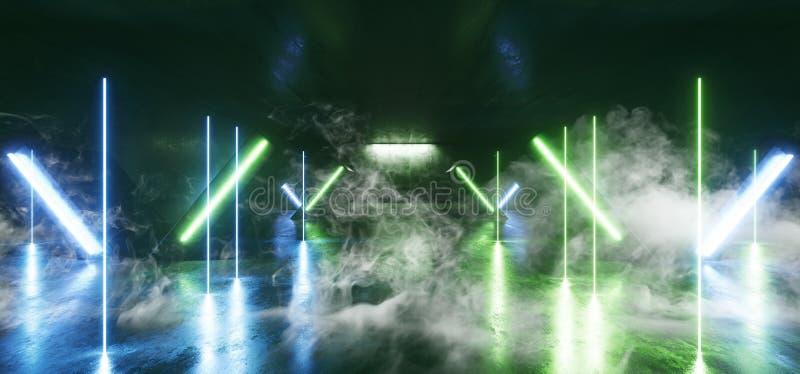 Sci Fi för ljus för neon för röketappklubban för futuristisk formade den blåa kolonnen gräsplan den glödande vibrerande tomma tun stock illustrationer