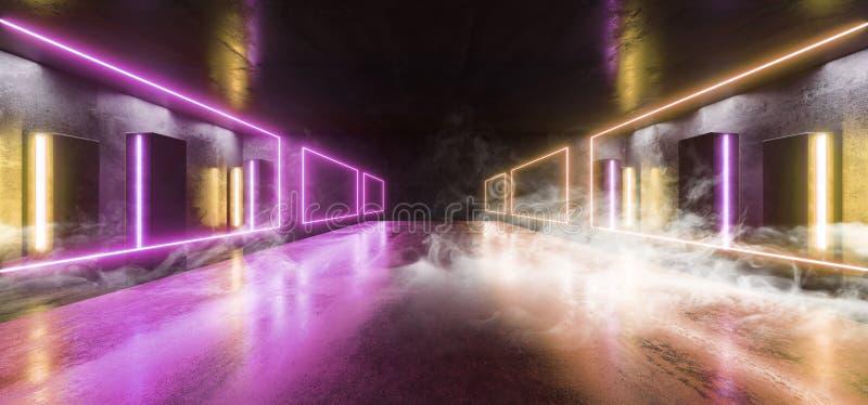 Sci Fi för ljus för neon för röketappklubban för futuristiska formade den orange kolonnen lilor den glödande vibrerande tomma tun stock illustrationer