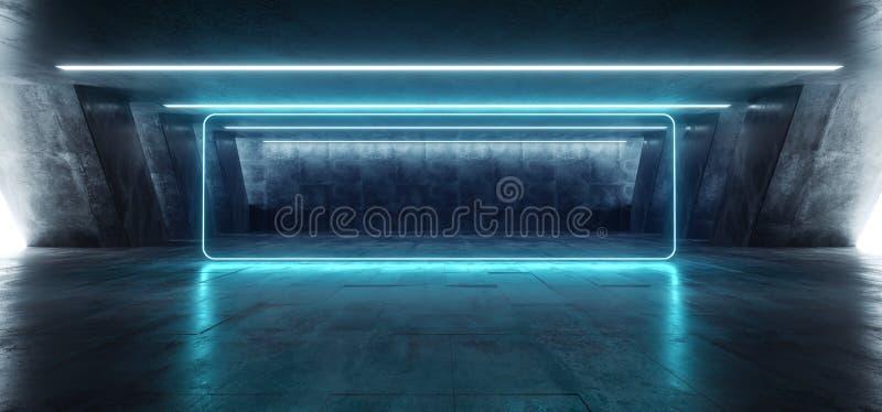 Sci Fi Fluorescencyjny Wibrujący prostokąt Kształtujący Neonowi Rozjarzeni Błękitni światła W Ogromnego zmroku cementu betonu Gru royalty ilustracja
