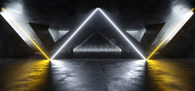 Sci Fi Fluorescencyjny Wibrujący trójbok Kształtujący Neonowi Rozjarzeni Pomarańczowi światła białe W Ogromnym zmroku cementu bet ilustracja wektor