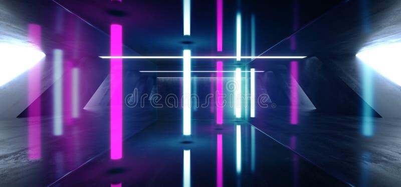 Sci Fi Fluorescent Vibrant Neon Glowing Purple Blue Pink Lights In Huge Dark Cement Concrete  Grunge Underground  Garage. Sci Fi Fluorescent Vibrant Neon Glowing vector illustration