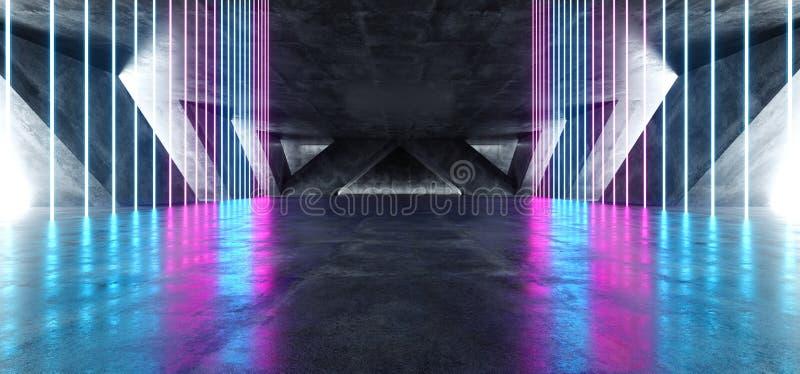 Sci Fi Fluorescent Vibrant Neon Glowing Purple Blue Pink Lights In Huge Dark Cement Concrete  Grunge Underground  Garage. Sci Fi Fluorescent Vibrant Neon Glowing royalty free illustration