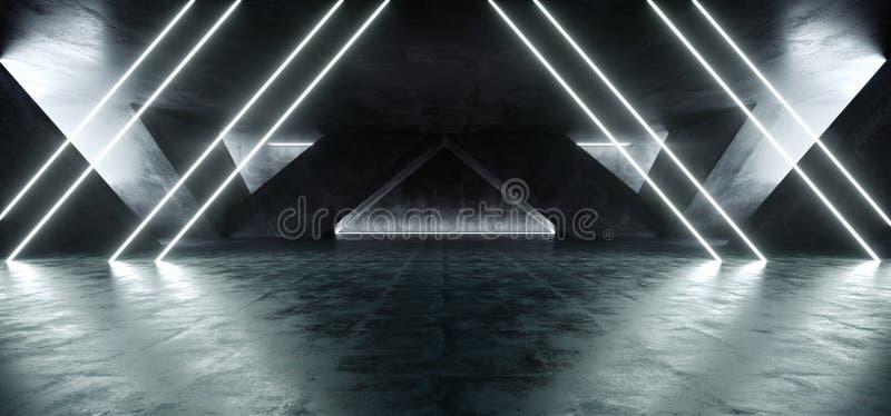 Sci Fi Fluorescent Vibrant Triangle Shaped Neon Glowing Blue White Lights In Huge Dark Cement Concrete  Grunge Underground  Garage. Sci Fi Fluorescent Vibrant vector illustration