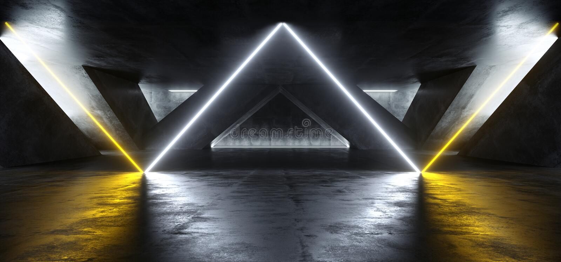 Sci Fi Fluorescent Vibrant Triangle Shaped Neon Glowing Orange White Lights In Huge Dark Cement Concrete  Grunge Underground. Sci Fi Fluorescent Vibrant Triangle vector illustration