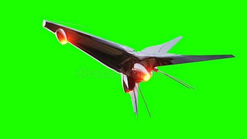 Sci fi fufturistic skepp Begrepp av framtid grön skärm framförande 3d vektor illustrationer