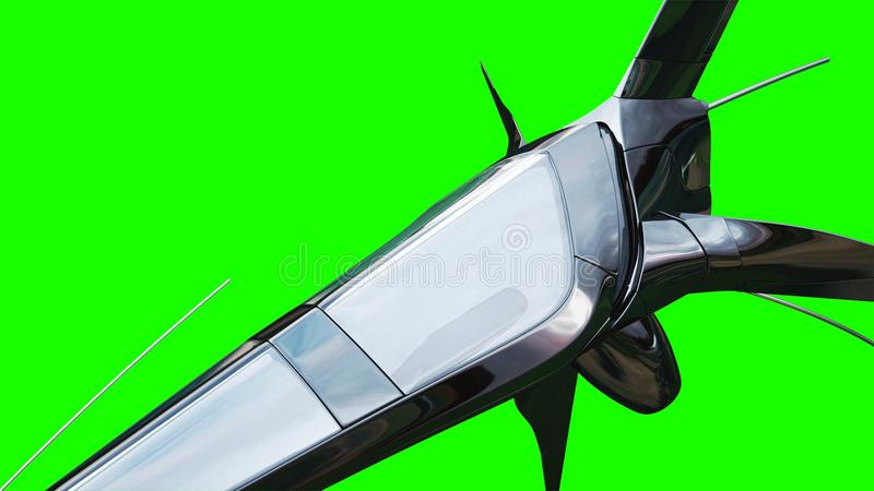 Sci fi fufturistic skepp Begrepp av framtid grön skärm framförande 3d stock illustrationer