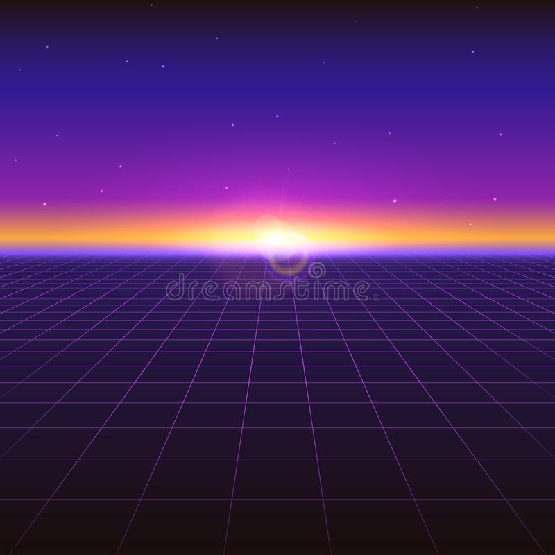 Sci fi futuristic abstract background with neon grids and stars. Violet retro gradient, vintage style of the 80s. Virtual surface, digital cyber world. Vector stock illustration
