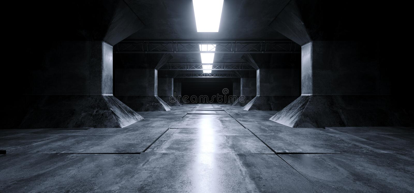 Sci Fi Futuristic Alien Ship Grunge Concrete Reflective Columns Corridor Spaceship Modern Blue White Neon Glowing Laser Led Tiled. Floor 3D Rendering royalty free illustration