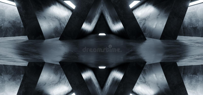 Sci FI Futuristic Alienship Dark Empty Grunge Concrete Reflective Abstract Corridor Room Hall White Glow Spaceship Background 3D stock illustration