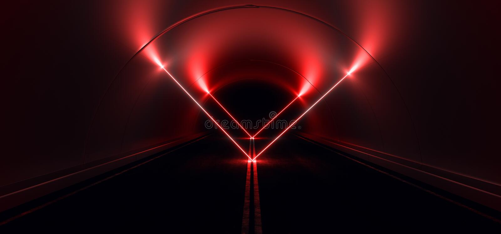 Sci Fi Futuristic Asphalt Cement Road Double Lined Concrete Walls Underground Dark Night Car Show Neon Laser Triangles Glowing Red. Arc Virtual Stage Showroom vector illustration