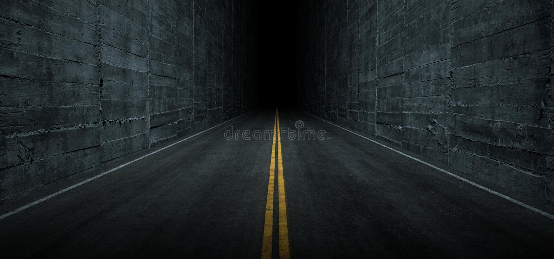 Sci Fi Futuristic Asphalt Tunnel Corridor Garage Cement Road Double Lined Concrete Walls Underground Dark Night Car Show Neon. Glowing Arc Stage Showroom 3D vector illustration