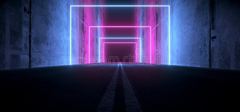 Sci Fi Futuristic Asphalt Tunnel Corridor Garage Cement Road Double Lined Concrete Walls Underground Dark Night Car Show Neon. Laser Glowing Purple Blue Arc vector illustration