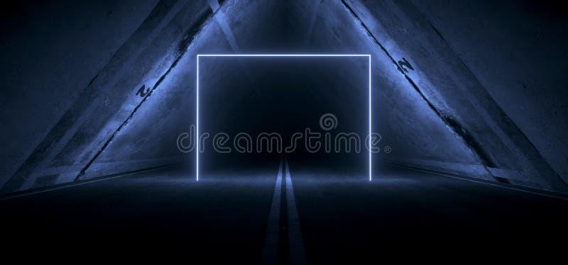 Sci Fi Futuristic Asphalt Tunnel Corridor Garage Cement Road Double Lined Concrete Walls Underground Dark Night Car Show Neon. Laser Triangle Glowing Blue Arc stock illustration