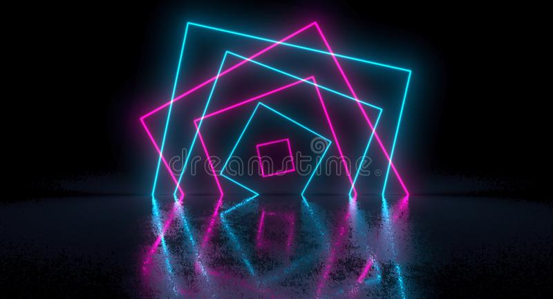 Sci-Fi Futuristic Chaotic Abstract Gradient Blue Pink Neon Glowing Rectangle Square On Reflection. 3D Rendering stock illustration