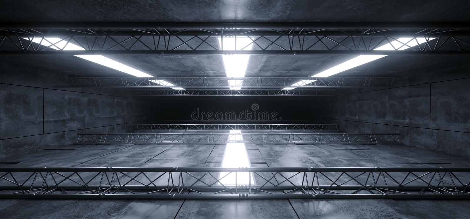 Sci Fi Futuristic Concrete Grunge Reflective Spaceship Led Laser Panel Stage Metal Structure Lights Long Hall Room Corridor Tunnel royalty free illustration