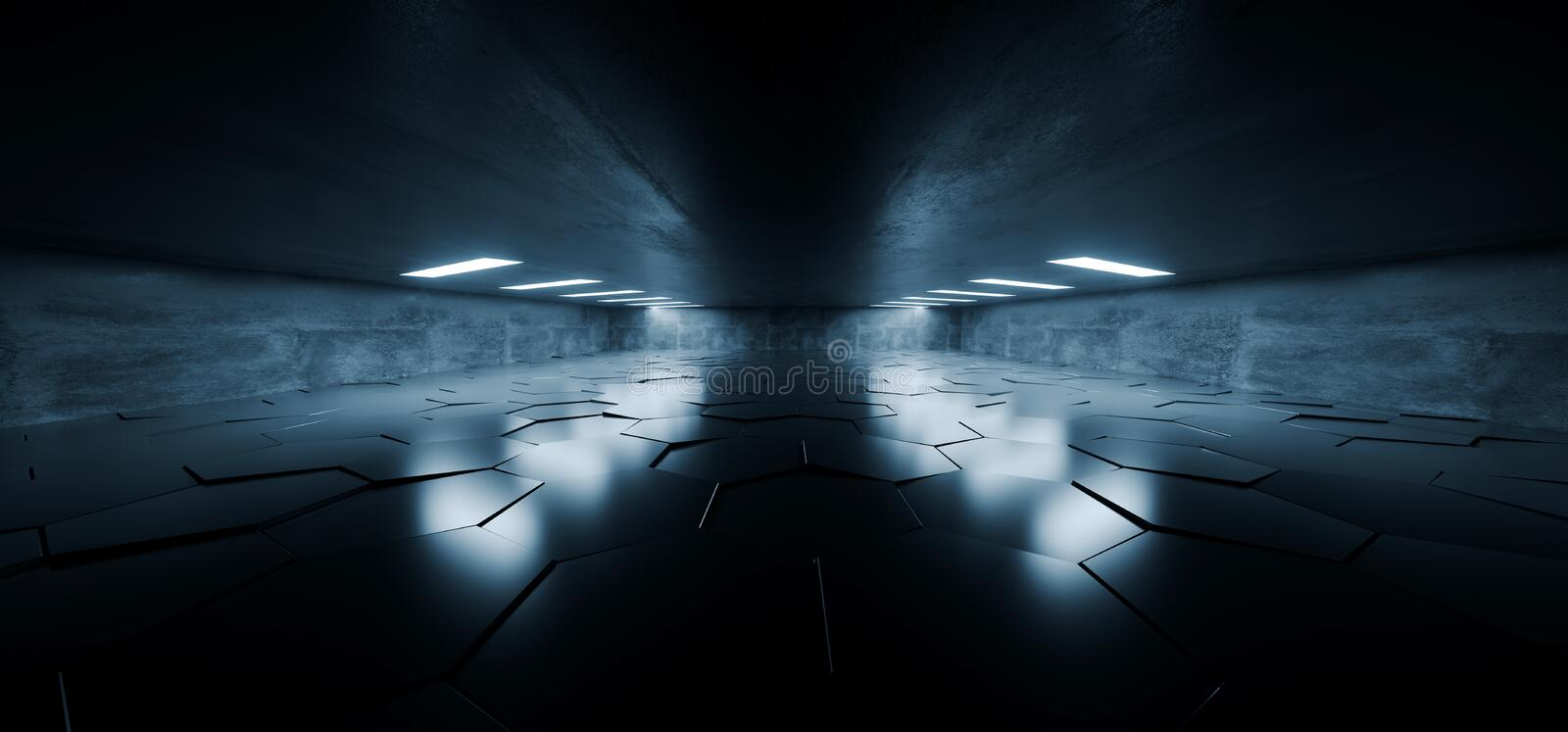 Sci Fi Futuristic Concrete Grunge Tunnel Hallway Reflective Garage Underground Garage Glowing Blue White Windows Led Lights Tiled. Floor 3D Rendering royalty free illustration
