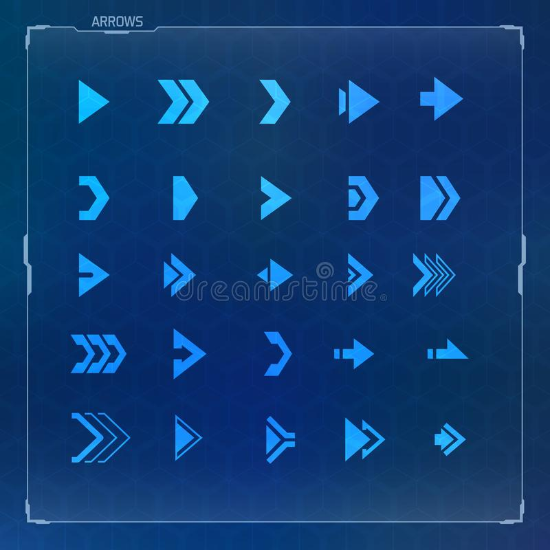 Sci-fi Futuristic design arrow icons set vector illustration