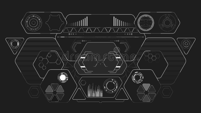 Sci-Fi Futuristic Glowing HUD Display. Vitrual Reality Technology Screen. Sci-Fi Futuristic Glowing HUD Display. Vitrual Reality interface technology digital stock illustration