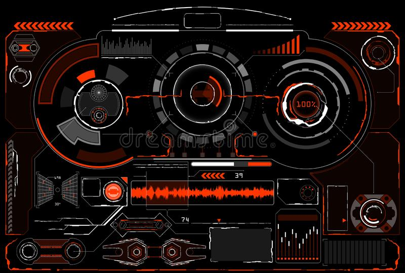 Sci-Fi Futuristic Glowing HUD Display. Vitrual Reality Technology Screen. Sci-Fi Futuristic Glowing HUD Display. Vitrual Reality interface technology digital vector illustration