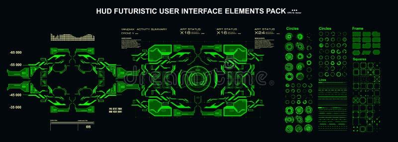 Sci-fi futuristic hud dashboard отображает технологию виртуальной реальности экран элементов интерфейса HUD стоковые изображения