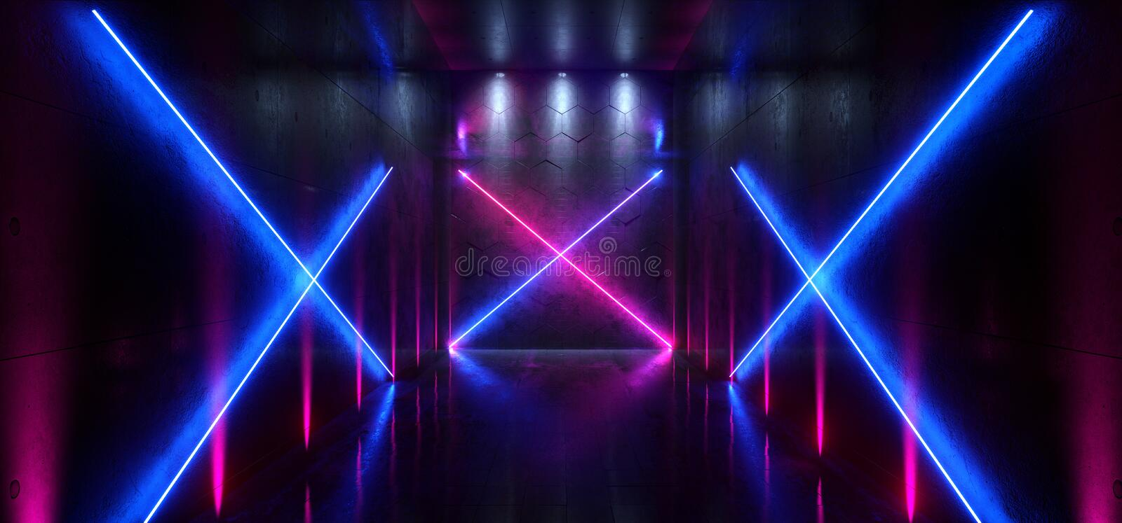 Sci Fi Futuristic Laser Hall Neon Tunnel Path Track Gate Entrance Spotlights Glowing Purple Blue Vibrant Colors X Shaped Gallery royalty free illustration