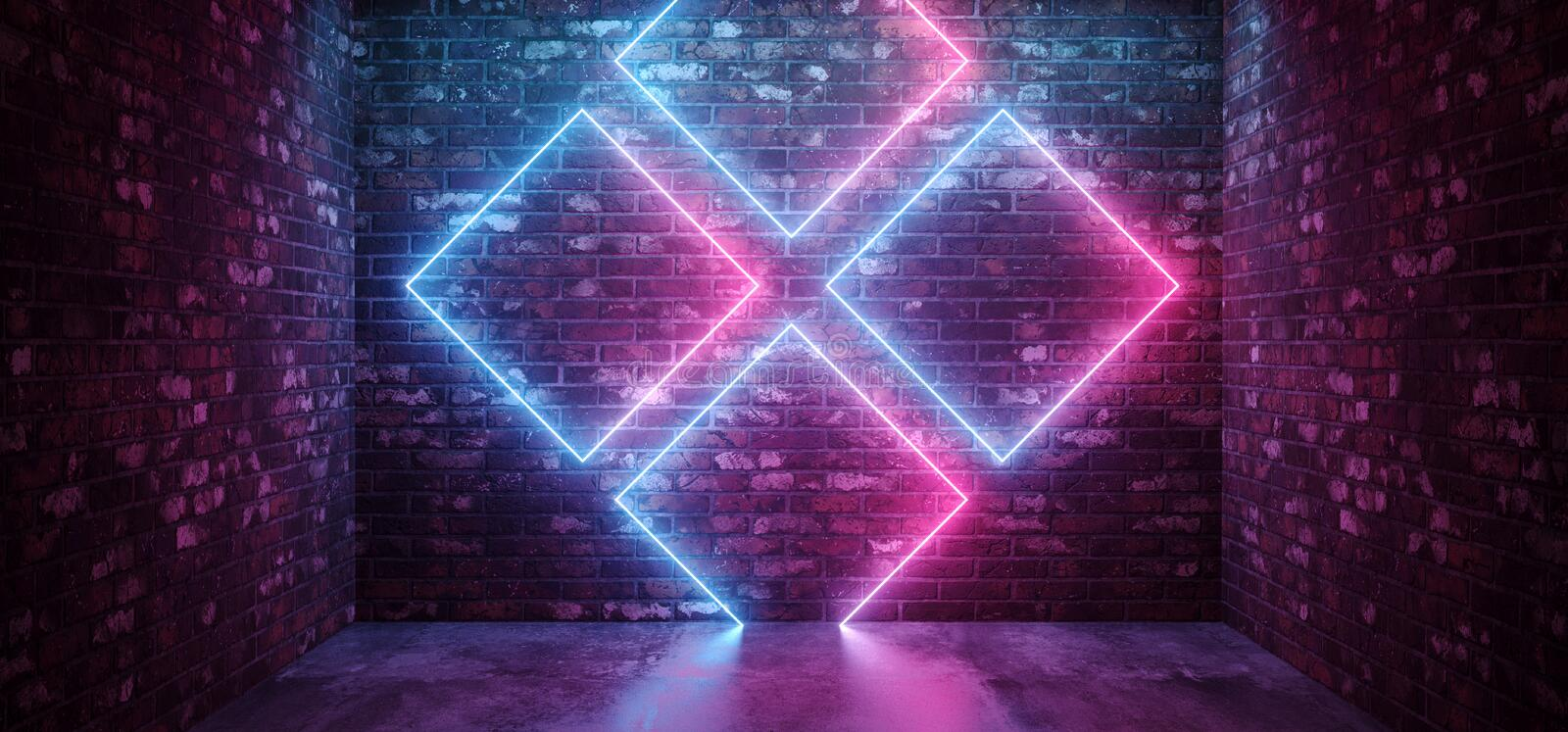 Sci Fi Futuristic Retro Modern Elegant Abstract Rectangle Crossed Neon Shapes Glowing Purple Blue Pink On Grunge Brick Wall Club. Stage Concrete Floor .3D stock illustration