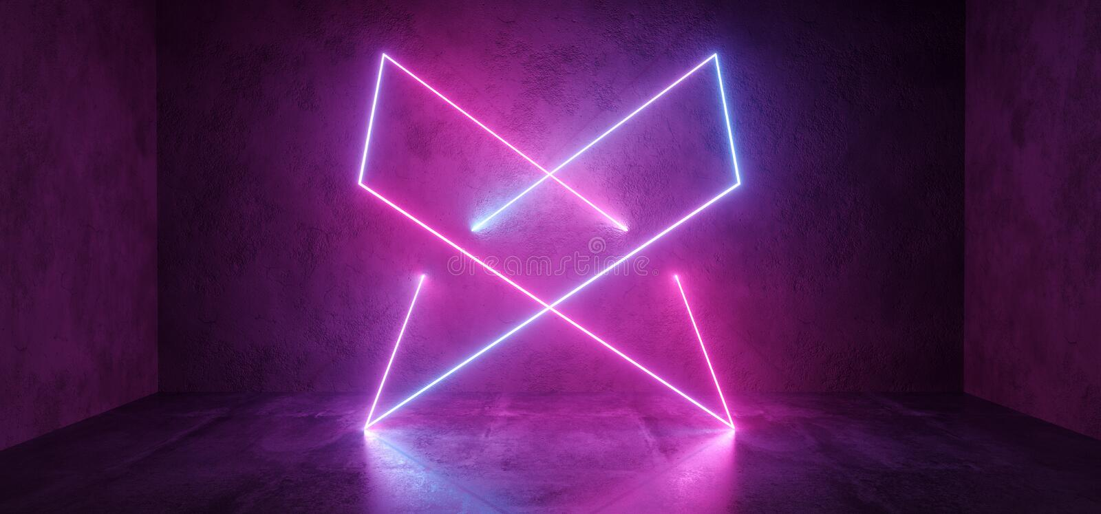 Sci Fi Futuristic Retro Modern Elegant Abstract Rectangle Crossed Neon Shapes Glowing Purple Blue Pink On Grunge Concrete Walls. Club Stage Concrete Floor. 3D stock illustration