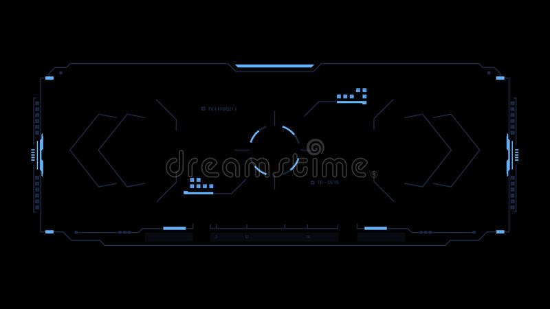Sci fi futuristisk manöverenhet Skärm för användargränssnitt för dobbel för begreppsdesign tekniskt avancerad Hud beståndsdelar vektor illustrationer