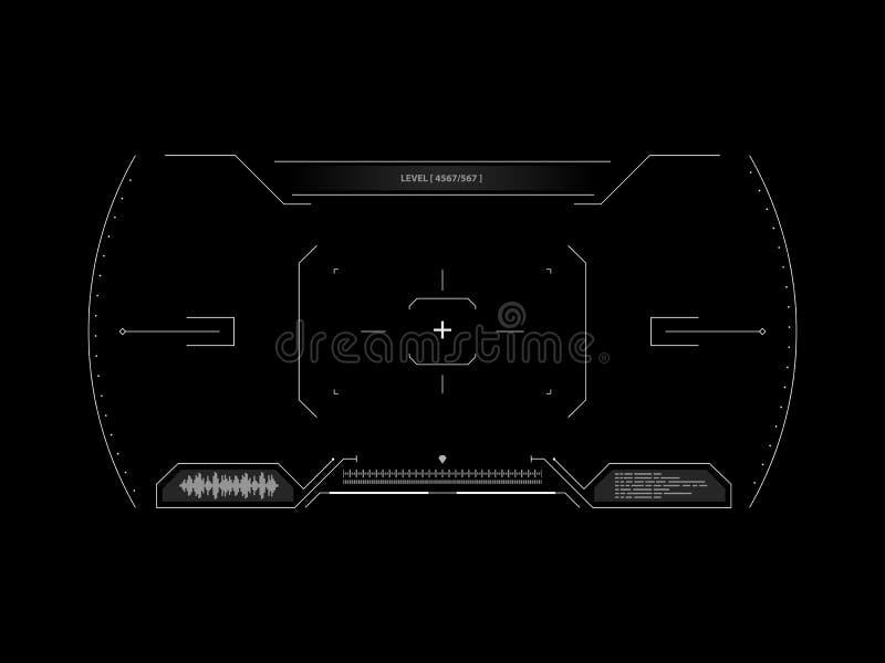 Sci fi futuristisk manöverenhetssökare HUD användargränssnitt Rymdskepp för skärm för begreppsanvändargränssnitt tekniskt avancer vektor illustrationer
