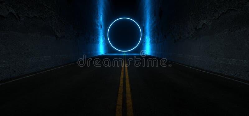 Sci Fi Futurystyczne Korytarze Asfaltowe Droga Cementowa Dwuwarstwowe Ściany Betonowe Pod Ziemią Ciemnonocny Samochód Pokaz Neon royalty ilustracja